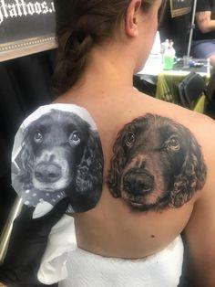 Dog portrait tattoo by Anastasiya! Limited availability at Revival Tattoo Studio! Best Portraits, Dog Portraits, Dog Portrait Tattoo, Boston Tattoo, Last Supper, Spaniel Dog, Dog Tattoos, Body Modifications, Tattoo Studio