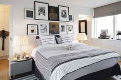 love all of the photos above the bed! cute room!