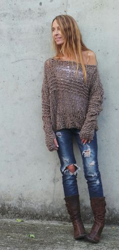 Brown Grunge oversized thumb hole sweater Ltd Edition in this shade