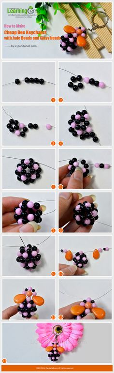 How to Make Cheap Bee Keychains with Jade Beads and Glass beads from LC.Pandahall.com