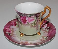 Antique Hand Painted Tea Cup and Saucer | eBay