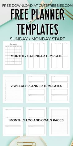 Free Printable Weekly Planner Template PDF - Cute Freebies For You