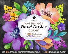 Floral Passion WATERCOLOR clipart. 32 floral elements by Filigrina