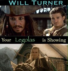 Will / William Turner is letting his Legolas show. ~ made by Samantha Morton. PotC Pirates of the Caribbean The Curse of the Black Pearl humor. Orlando Bloom: Funny Pirates Of The Caribbean, Pirates Of The Caribbean Funny, Rings The Hobbit, Orlando Bloom,