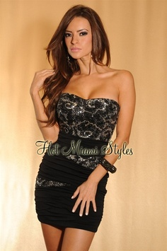 Black Silvery Shimmer Sequined Ruched Strapless Dress