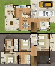 best house plans of 3 bedrooms two floors Best House Plans, Dream House Plans, Modern House Plans, House Floor Plans, House Map, Sims House, Architecture Plan, House Layouts, Plan Design