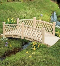 4'L Wooden Garden Foot Bridge With Latticework Sides by Plow & Hearth. $249.95. Foot bridge for decorative and functional. Makes attractive landscaping element wherever you us. Decorative bridge looks great in the garden, over a small stream or between flower. Adds an upscale element to your yard, garden and landscape. 4'L wooden garden foot bridge in three sizes Foot bridge for decorative and functional use Decorative bridge looks great in the garden, over a small... #gardeningandlandscape