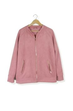 f58a2aa9066 F amp F pink suede look baseball bomber jacket Size 16  fashion  clothing