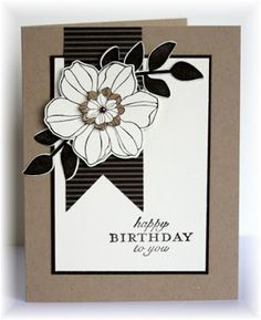 handmade birthday card ... almost monochromatic ... kraft base ... luv the desing ... flower and leaves stamped and die cut with Stampin' Up! products ...