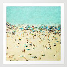 Coney Island Beach Art Print by Mina Teslaru - $20.00