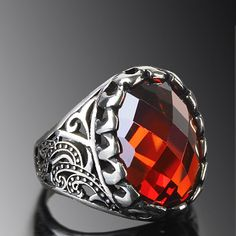 MEN's Ring Sterling Silver 925 K with Natural Red Quartz $40.55