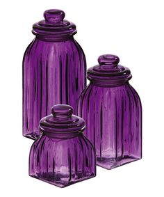 Purple Glass Jar Set by Evergreen Enterprises.I am crazy for colored glass, especially this gorgeous purple which you hardly ever see!