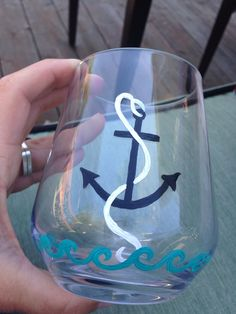 Hand painted stemless wine glasses Anchor and by CrystalRiches