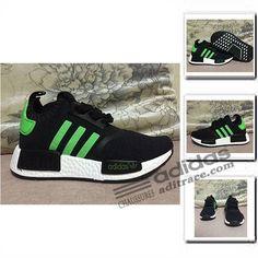 online retailer 04d13 7b145 Adidas NMD R1 Primeknit Les Nouvelles Chaussure Enfant Noir Vert  aditrace