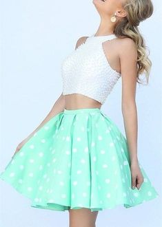 awesome Popular Two-Piece Homecoming Dress,A Line Short White Homecoming Dresses  ,Beaded Short Prom Dress,Cute Party Gowns  from LovePromDresses