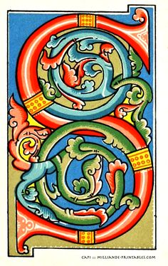 Illuminated Manuscript Letters S, Printable Alphabet Letters Decorative Ornamental, Samples of Ornamental Letter S , Letterform Inspiration for Calligraphers, Type Design and Lettering milliande-printables.com