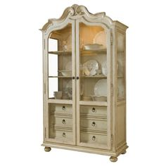 Display precious china or vintage trinkets in this charming pine wood-framed display cabinet, showcasing 6 drawers and 3-way touch lighting.