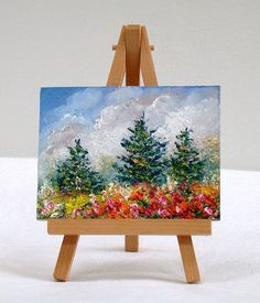 Summer Pine trees with Flowers ,3x4 original oil painting, Miniature, by valdasfineart on Etsy Available