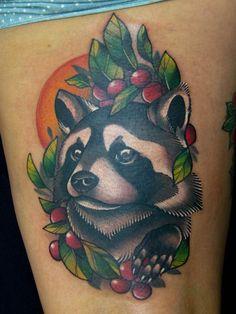Racoon tattoo by Marlen McKey Skunk Tattoo, Badger Tattoo, Raccoon Tattoo, Time Tattoos, Leg Tattoos, Body Art Tattoos, Sleeve Tattoos, Tattoo Ink, Tattos