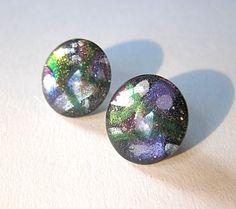 Abstract Brushstroke Earrings Green & Purple  by TheGlitorisShop, $20.00