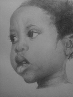 Pretty little African girl.  Pencil drawing. Study of faces by Allen D. Aramide