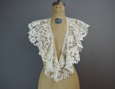Antique Lace Collar, 1900s Long & Wide Lace Collar for Blouse or Dress, 37 inches, Edwardian Vintage Collar by dandelionvintage on Etsy