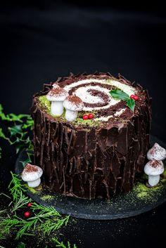 five o'clock: Świąteczna kłoda Buche de Noel Bhg Recipes, Cake Recipes, Yule Log, Food Cakes, Merry And Bright, Christmas 2019, Nutella, Food And Drink, Yummy Food
