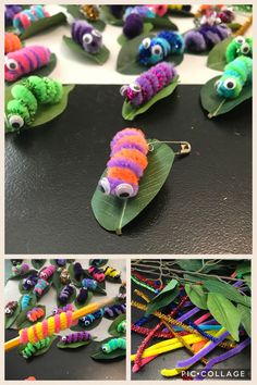Girl Scout SWAPS! Colored pipe cleaners, fake leaves, googley eyes.. Just wrap pipe cleaners around a pencil to make caterpillars, glue eyes, glue to leaf, add safety pins and swap!