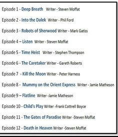 We have an episode list.... // WHOOOOOOT---- Robots of Sherwood! That sounds cool. And of course Mofatt begins and ends the season. Brace yourselves