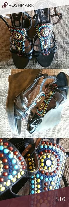 Charles David Platform Beaded Wedges Beautiful beaded wedge sandals, perfect for day or night.  Brand new, no box Charles David Shoes