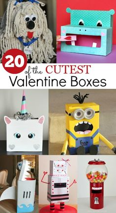 20 of the cutest Valentine Boxes ~ Ideas your Kids are going to LOVE! Valentine Boxes For School, Valentines For Boys, Valentines Day Party, Valentine Day Crafts, Valentine Ideas, Printable Valentine, Homemade Valentines, Valentine Wreath, Valetines Box Ideas