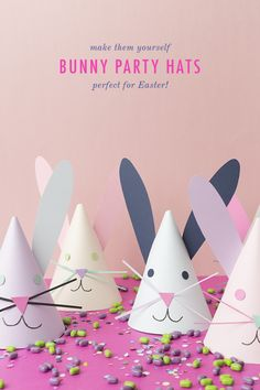 DIY bunny party hats Easter is just around the corner! That seems crazy! You know we love party hats and we couldn't resist creating some bunny party hats for your Easter celebration or Spring party! Aren't they just the cutest? Easy Easter Crafts, Bunny Crafts, Easter Crafts For Kids, Easter Decor, Easter Birthday Party, Bunny Birthday, Birthday Parties, Birthday Hats, Spring Birthday Party Ideas