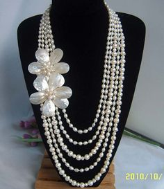 Bead Necklace,Beaded Jewelry,Pearl Necklace Multi-Strand Pearl Necklace With Freshwater Pearl & MOP Shell Flower