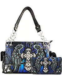 Women's Bags, Shoulder Bags, Cross Angel Wings Concealed Carry Handbag Purse - Black Blue Handbag and Wallet - Bags Fall Handbags, Blue Handbags, Ladies Handbags, Bags Online Shopping, Online Bags, Cute Purses, Purses And Bags, Women's Bags, Cross Purses