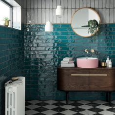 Looking for tile inspiration to redecorate bathrooms and kitchens? Topps Tiles h. Looking for tile inspiration to redecorate bathrooms and kitchens? Topps Tiles have just revealed t Grey Bathroom Tiles, Grey Bathrooms, Bathroom Colors, Bathroom Flooring, Small Bathroom, Colorful Bathroom, Teal Tiles, Bathroom Ideas, Mirror Bathroom