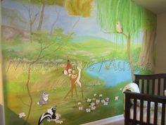 Woodland Bambi and Butterfly Custom Nursery  - Mural Idea in