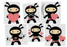 Ninja in Love Clipart.