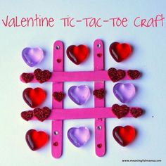 Valentine Heart Tic-Tac-Toe Craft It will be fun to make this tic-tac-toe Valentine craft out of popsicle sticks. You can play this game at any Valentine party. Valentines Bricolage, Kinder Valentines, Valentines Games, Valentines Day Activities, Valentine Day Love, Valentines Day Party, Valentine Ideas, Valentine's Day Crafts For Kids, Valentine Crafts For Kids