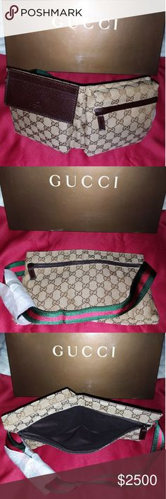 3bd193a6 Authentic Gucci Monogram Web Belt/Waist Bag Brand New Never Used! Classic  Ebony GG Monogram fabric waist bag, Signature Green/Red Web striped belt,  ...
