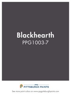Blackhearth PPG1003-7 a paint color from PPG Pittsburgh Paints. Perfect for  an accent