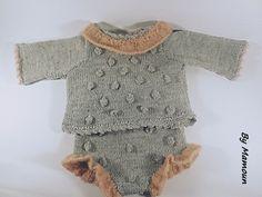 Ensemble bébé brassière et culotte cache couche (0-3 mois) gris et rose poudré : Mode Bébé par mamountricote