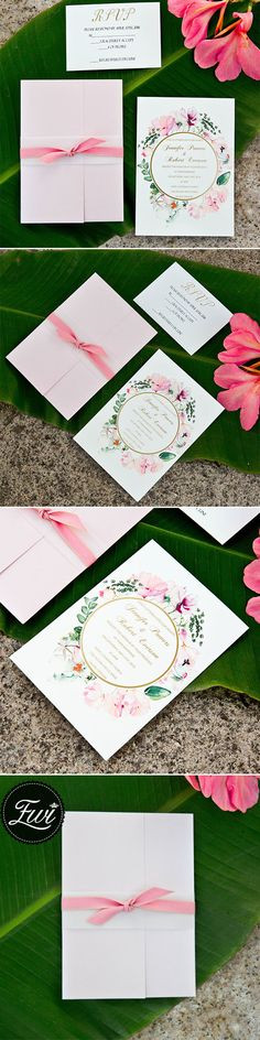 $292 for 100 sets of foil pocket invitations - pink and gold glitter pocket wedding invitations with flowers in watercolors EWPI209