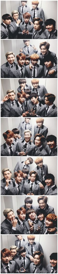 Everyone takes turns doing a derp face, while the other six look sexy as hell. Bangtan Fighting