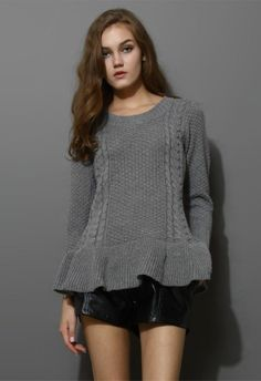 Grey knit sweater with skirt