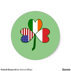 Poland Shamrock Classic Round Sticker