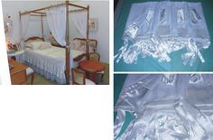Xale para cama com dossel. Conjunto de 4 peças em voal craqueado branco com fitas de amarração, barrado e 4 laços em cetim branco. 1,50m x 1,90m cada parte. Decorative fly.