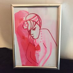 Original life #drawing by michelle #murray mixed #media pen ink nude female frame,  View more on the LINK: http://www.zeppy.io/product/gb/2/162353280430/