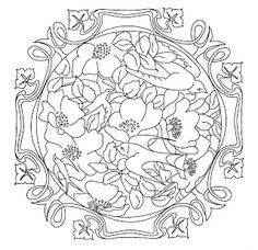Mandalas Para Pintar: Mandala con flores y pájaros