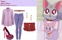 Like Sailor Moon Outfits on Facebook! Forever 21 linked circle earrings in Gold Topshop Sister Jane skull chain blouse in Purple MOTO supersoft skinny Leigh jeans in Lavender Lipsy bow buckle belt JustFab Ghislaine heel in Pink River Island red quilted tassel messenger bag Diana Sailor Moon, Sailor Chibi Moon, Sailor Uranus, Cartoon Outfits, Anime Outfits, Cute Outfits, Sailor Moon Outfit, Sailor Moon Cosplay, Anime Inspired Outfits