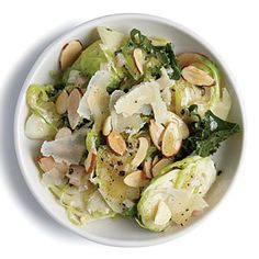 Fast, 15-Minute Vegetarian Dinners | Kale and Almond Brussels Sprout Salad | MyRecipes.com